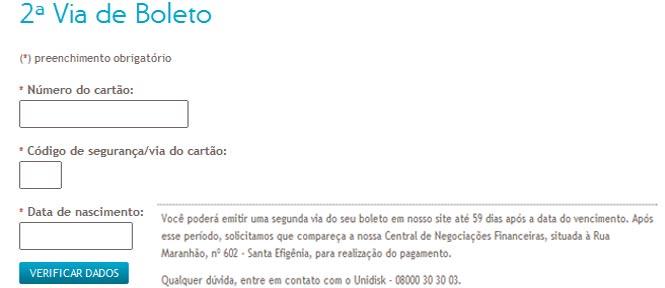 Página da Unimed BH Para Emissão da 2 Segunda Via do Boleto