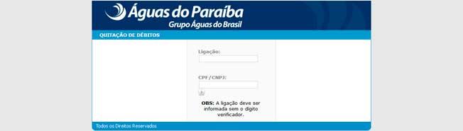 2a Segunda Via do Boleto Águas do Paraíba Pelo CPF ou CNPJ