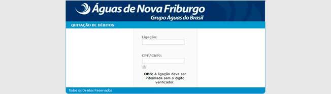 Águas de Nova Friburgo Serviço Online Para Impressão da 2ª Via da Fatura
