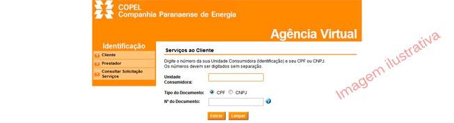 Agência Virtual Copel Para Emissão da 2a Segunda Via de Conta