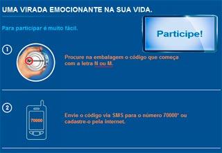 Enviar Código da Promoção Nestlé – Um Milhão na Mesa Pela Internet e Pelo Celular