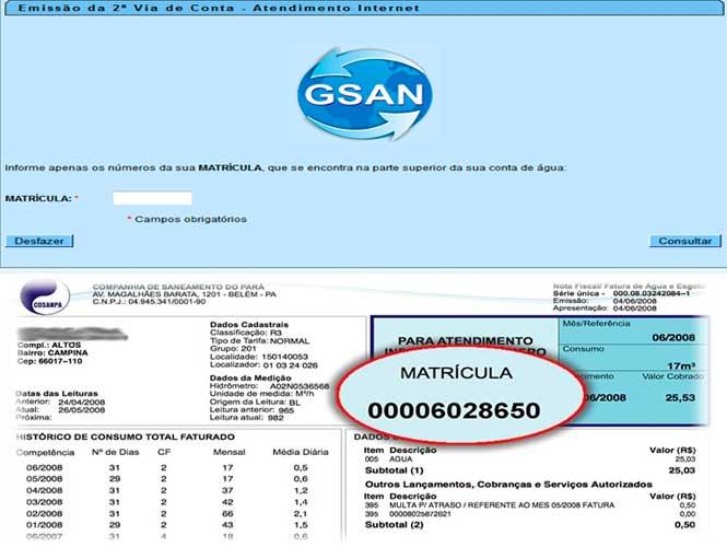 Acesse e digite o número da Matricula COSANPA para utilizar o serviços online para emissão da 2 via de conta, consulta de faturas vencidas ou a vencer e informações sobre débitos